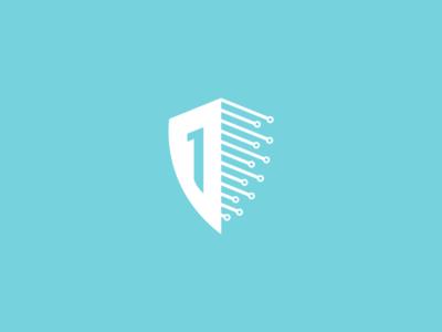 1sheeld brand identity circuts flat modern tech electronics blue design branding logo