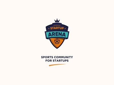Startup Arena brand identity badges football startup colorful design branding logo
