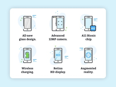 iPhone 8 icons icon design icon set design email iconography apple iphone8 iphone illustrator illustration icon