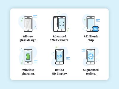 iPhone 8 icons icon design icon set design email iconography apple iphone8 iphone illustrator illustration icon