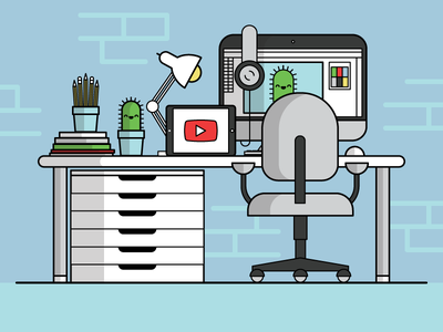 Desk/Workspace cactus illustrator workspace flat vector drawing illustration desk