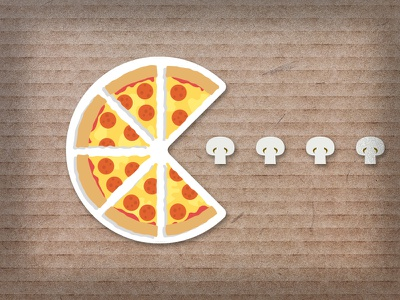 🍕 Pizza PacMan 🍕 arcade playoff mushroom pepperoni vector pacman pizza illustration