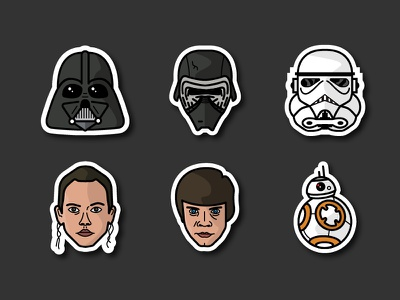✨ May the 4th be with you ✨ kylo ren darth vader luke skywalker star wars stormtrooper bb-8 rey stickers vector illustration