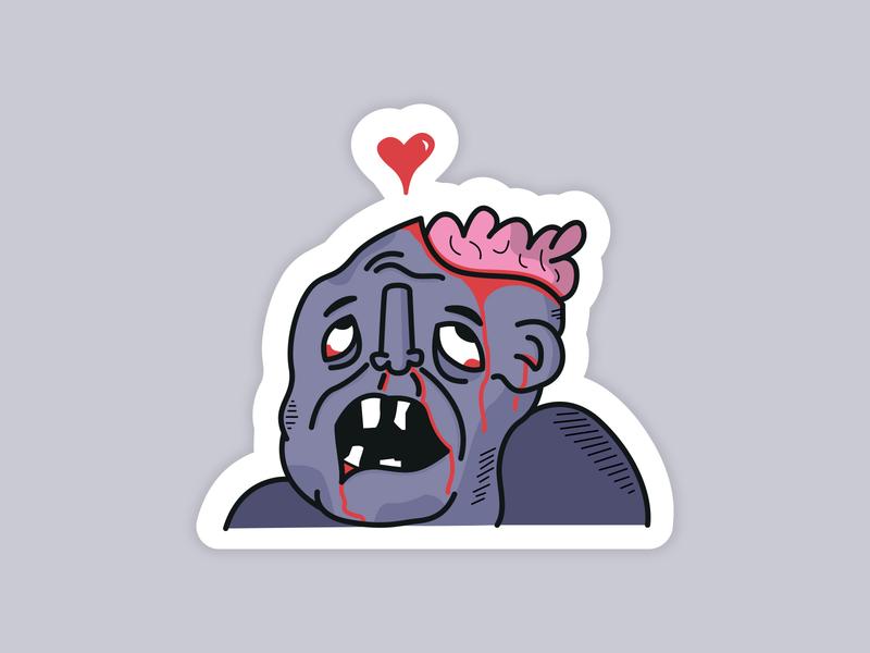 Lovesick Zombie illustrator flat drawing stickermule sticker vector halloween illustration zombie