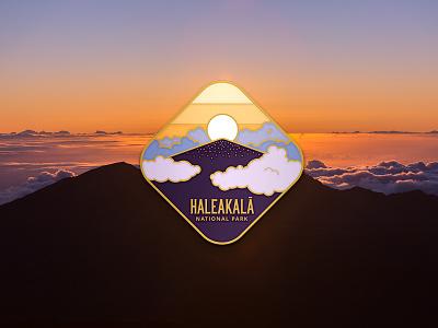 Haleakala Enamel Pin clouds mountain sunrise photo illustration enamel pin hawaii maui