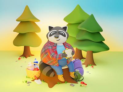 Chonky Raccoon 3d modeling 3d art blender blender3d raccoon character cute digitalart illustration