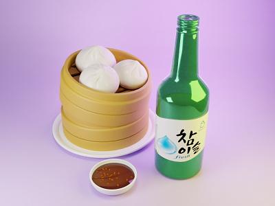 Dimsum & Soju food art blender 3d cartoon digitalart illustration