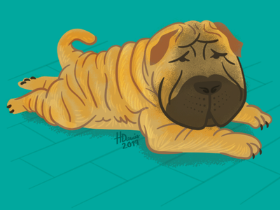 Shar Pei sploot shar pei dog illustration doggust