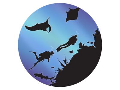 Divers light dive water manta fish blue vector diver shark ocean sea divers