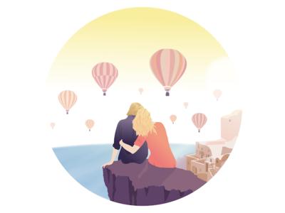 Balloons above Santorini air hot city sky sun sea vector santorini romantic couple ballooons ballooon