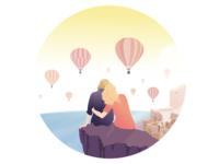 Balloons above Santorini