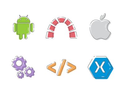 Custom icons custom illustration illustrated backend settings android apple icons icon