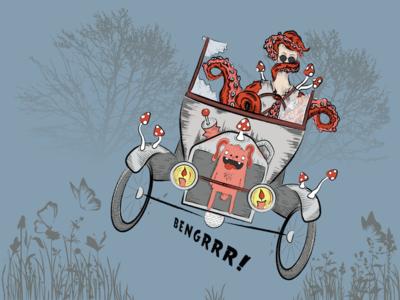 Octopus man comic man mushroom vintage tree guy octopus bunny car illustration vector