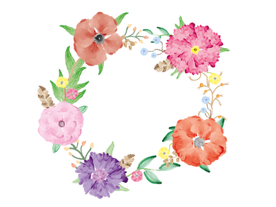 vector water colour flowers illustration composition feather blossom rose wreath colour water vector flowers flower