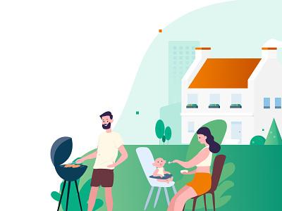Chill & Grill con familia design art barbecue grill chill design illustration illustraion