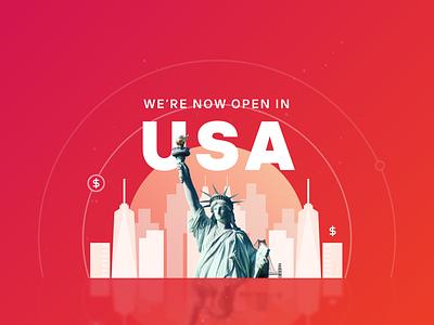 Open in USA vector illustraion design statue of liberty