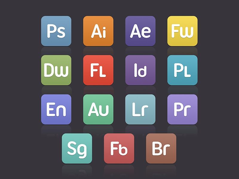 Varient Flat Custom CS Icons simple icons design set free ui flat cs creative suite ps ai ae fw photoshop illustrator indesign after effects custom