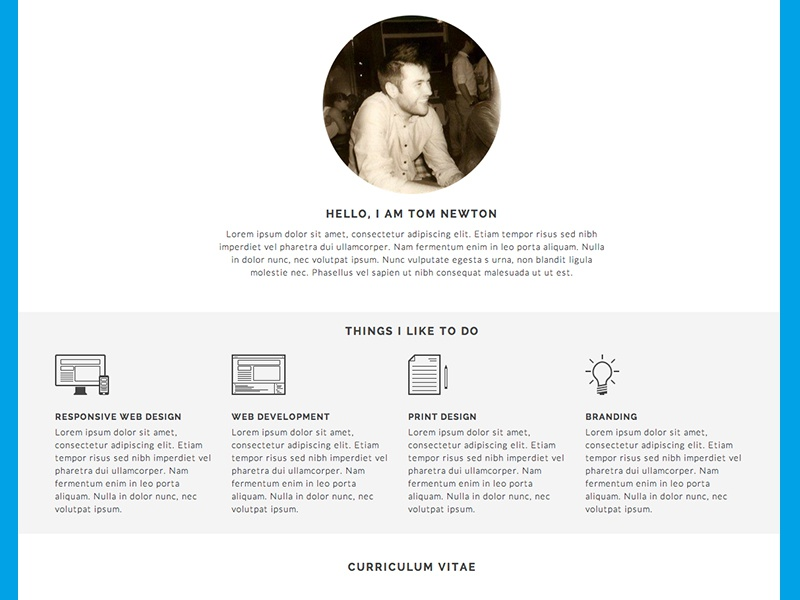 about me    cv  r u00e9sume  by tom newton on dribbble