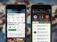 Chelsea FC Hospitality App football soccer chelsea arsenal hospitality app iphone ui visual timeline cards widgets