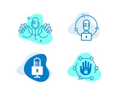Hands Free Podcast Logo Sketches illustration logo