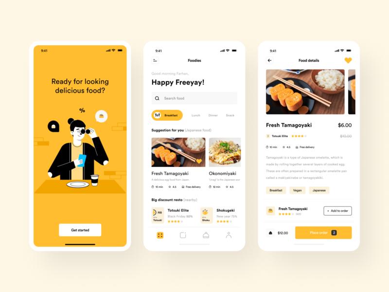 Food App mobile profile homepage food app illustration onboarding resto app food and drink japanese restaurant