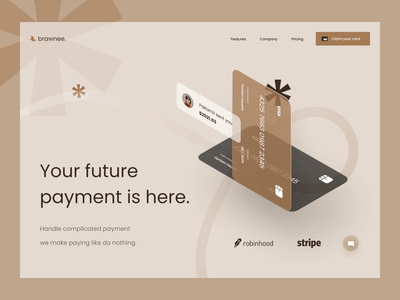 brownee. - E-Banking Header mobile app mobile web brown credit card crypto money finances investment investing landing financial finance payment wallet e-wallet e-banking landing page web design website