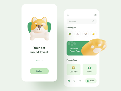 Dog & Puppy Toy - Mobile App pet care dog food mobile ui app illustration mobile design mobile app mobile dog illustration 3d petshop pet dogs puppy dog