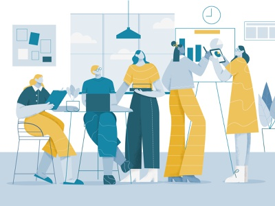 Team Work Illustration working meeting place work together workspace people space co-working flat character office vector man girl teams animation flat illustration teamwork team illustration
