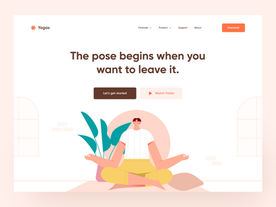 Yoga Meditation Website mental health fitness woman exercise healthy relaxing meditation website web illustration meditations meditation relaxation dashboard illustration landing page web design webdesign website design website yoga app yoga