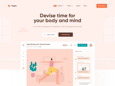 Yoga Landing Page - Meditation Website video call streaming home page clean minimalist healthy illustration web-design exercise workout health yoga website yoga app fitness meditation yoga pose landing page webdesign web design website