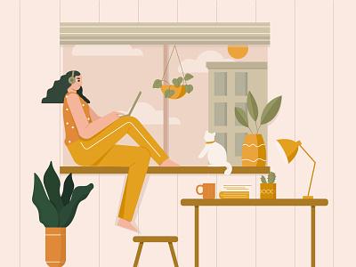 Woman relaxing illustration landscape living room workspace illustrations character illustration character empowered woman illustration clean animal cat relax woman illustration
