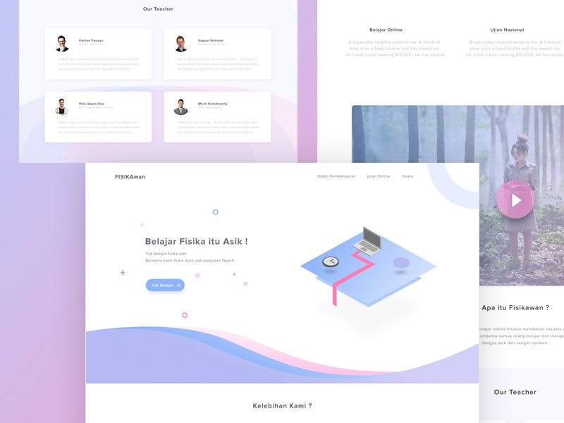 Fisikawan Landing Page #Exploration isometric fisika illustration moon clean modern design physics page landing website