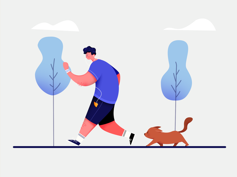 Running with my dog 🐘 minimalist clean running man dog running ui modern branding landing page illustration
