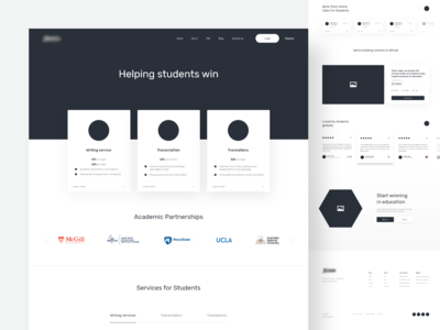 Academic website - wireframe