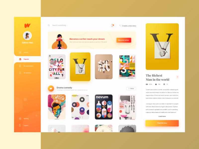 Wattpad Redesign Concept - E-Book Website book modern ui website landing page illustration online course dashboard writter e book