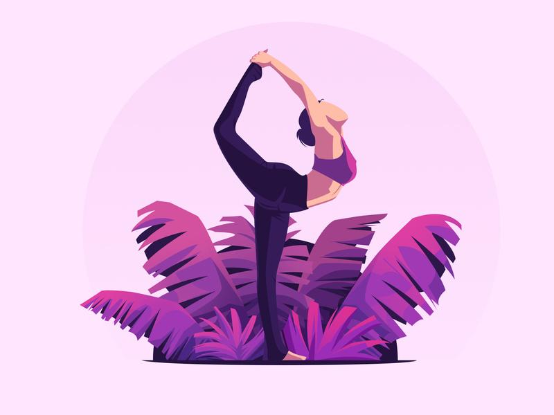 Yoga Illustration branding clean woman illustration flat illustration meditation yoga illustration website landing page illustration