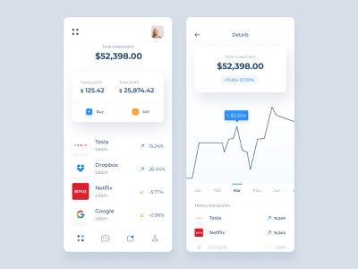 Investment App 💸 money transfer investing dashboard ewallet investment startup financial app clean