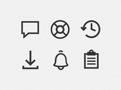 Interface Icons clipboard activity download backups support comment ui icons