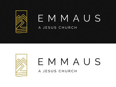 Emmaus Logo - Horizontal piedmont sea river path nc mountains logo church christian emmaus
