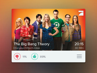TV Show Card tv television content illustrator ui user interface icons green red blur german tv second screen