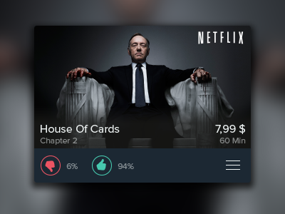 TV Show Card Dark tv television content illustrator ui user interface icons green red blur german tv second screen