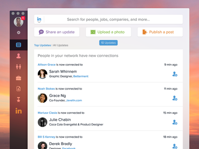 LinkedIn Mac App Concept Collapsed