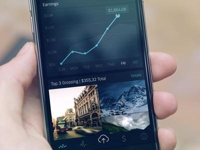Shutterstock Contributor Dashboard bars charts mockup icons tab bar dark iphone dashboard ux ui