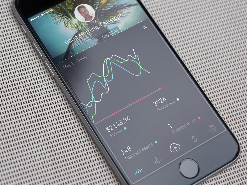 Shutterstock Contributor Dashboard 2 bars charts mockup icons tab bar dark iphone dashboard ux ui