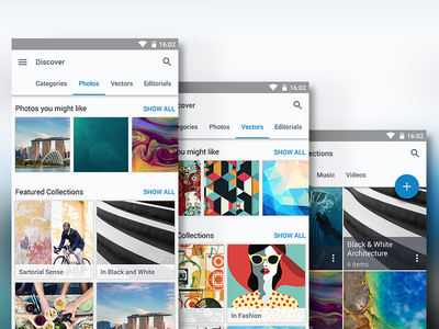 Shutterstock Material Design Concept - Discover & Manage shutterstock photos images fab phone flat material design android