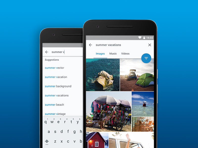 Shutterstock Material Design Concept - Search Patterns shutterstock photos phone material design images flat fab android