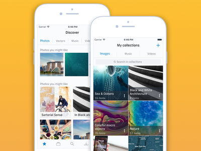Shutterstock iOS Design Concept - Discover & Manage mockup illustrator lists collections design interface ux ui light theme app iphone ios
