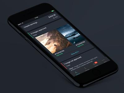 SSTK Contributor iOS App - Activity Feed Update mockup feed activity dark dark ui update ui ux design app ios