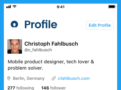 Twitter - Profile iphone avatar profile ui app interface ux ios concept redesign twitter
