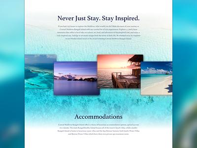 Maldives resort Landing page concept concept night sand beach blue interface design web website site travel landing page